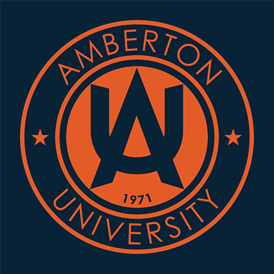 Amberton University logo in bright orange on a solid dark blue background.