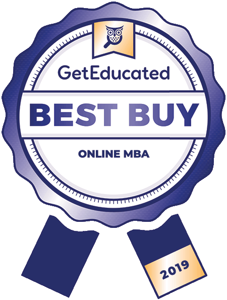 Blue seal from Get Educated that says Best Buy Online MBA